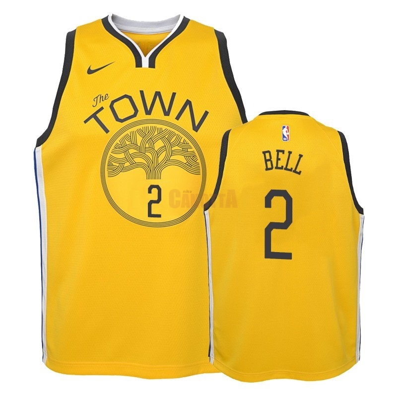 Replica Maglia NBA Bambino Earned Edition Golden State Warriors NO.2 Jordan Bell Giallo 2018-19