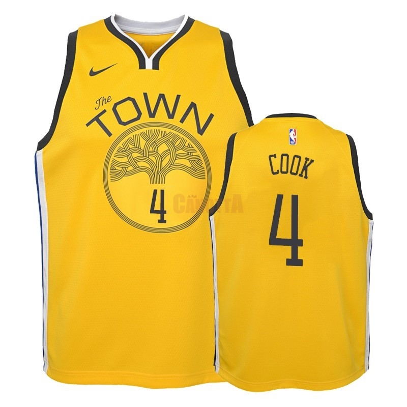 Replica Maglia NBA Bambino Earned Edition Golden State Warriors NO.4 Quinn Cook Giallo 2018-19