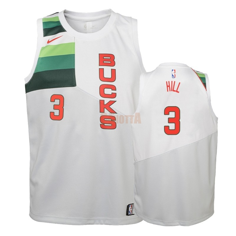 Replica Maglia NBA Bambino Earned Edition Milwaukee Bucks NO.3 George Hill Bianco 2018-19