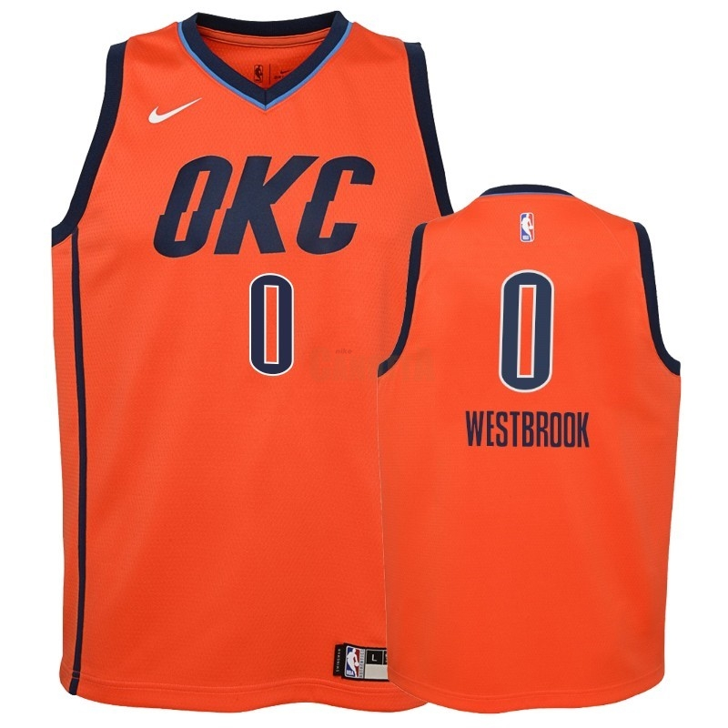 Replica Maglia NBA Bambino Earned Edition Oklahoma City Thunder NO.0 Russell Westbrook Arancia 2018-19