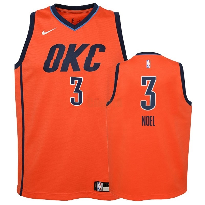 Replica Maglia NBA Bambino Earned Edition Oklahoma City Thunder NO.3 Nerlens Noel Arancia 2018-19