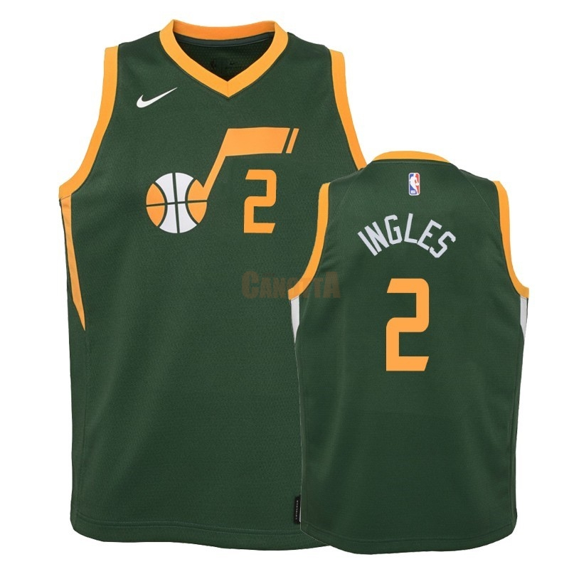 Replica Maglia NBA Bambino Earned Edition Utah Jazz NO.2 Joe Ingles Verde 2018-19