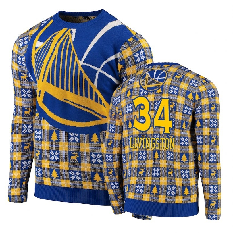 Replica Maglione Ugly Unisex Golden State Warriors NO.34 Shaun Livingston Blu