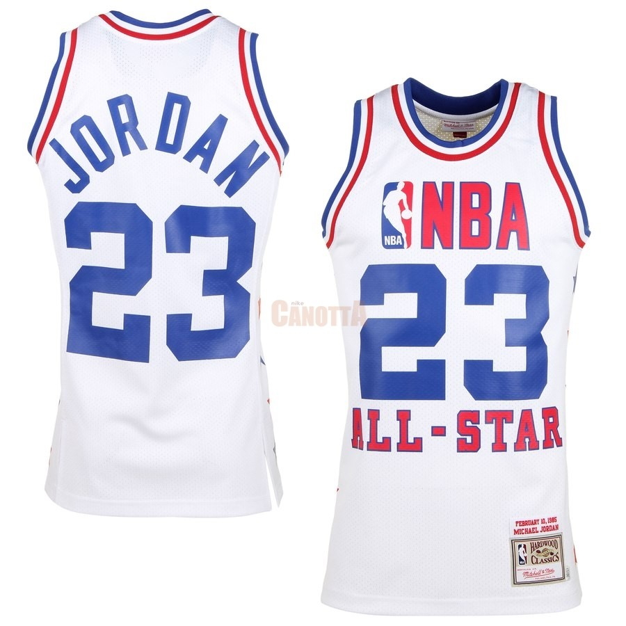 Replica Maglia NBA All Star 1985 NO.23 Michael Jordan Bianco