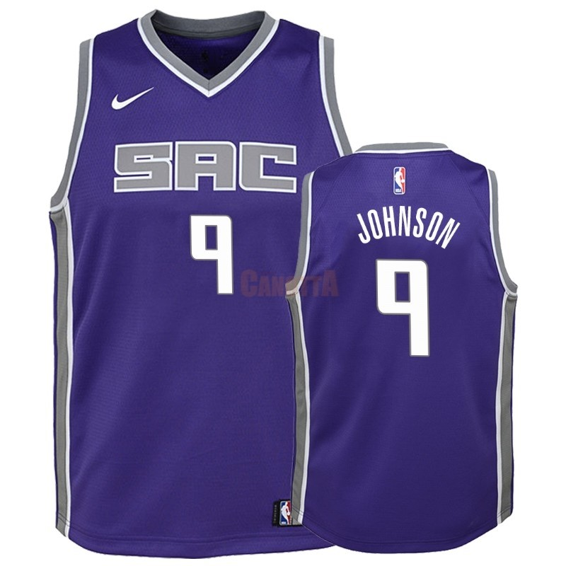 Replica Maglia NBA Bambino Sacramento Kings NO.9 B.J. Johnson Porpora Icon