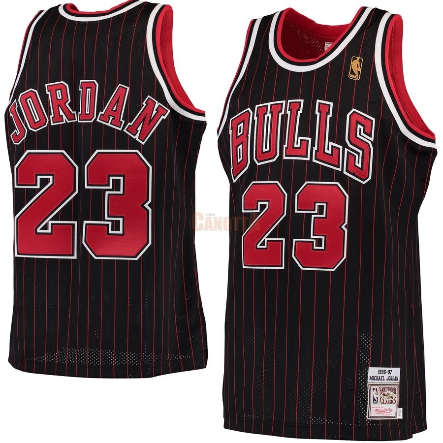 Replica Maglia NBA Chicago Bulls NO.23 Michael Jordan Nero Hardwood Classics 1996-97