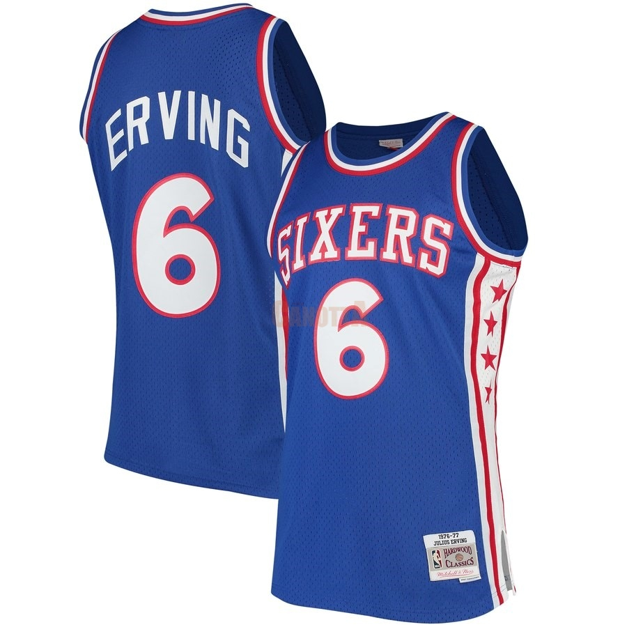Replica Maglia NBA Philadelphia Sixers NO.6 Julius Erving Blu Hardwood Classics