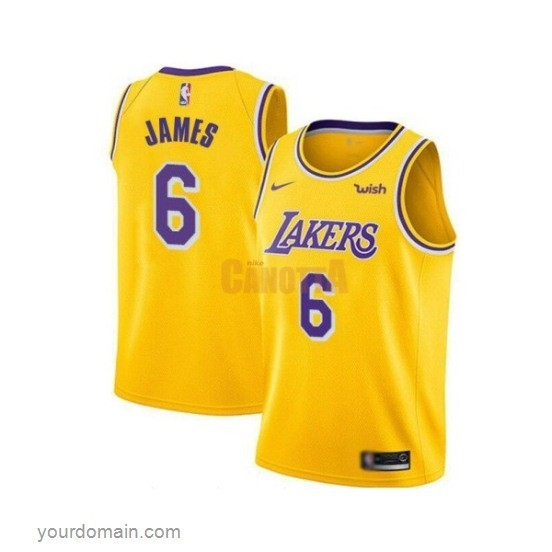Replica Maglia NBA Bambino Los Angeles Lakers NO.6 LeBron James Giallo 2019-20