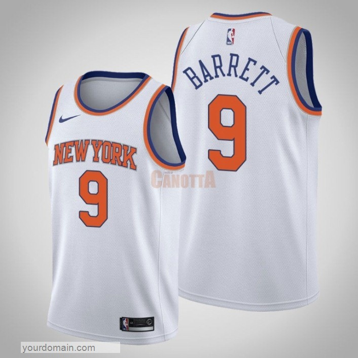 Replica Maglia NBA Nike New York Knicks NO.9 R.J. Barrett Bianco Association 2019-20