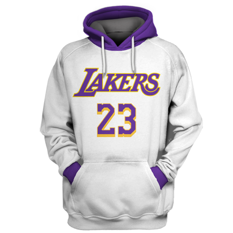 Replica Felpe Con Cappuccio Los Angeles Lakers NO.23 LeBron James Bianco Rosso