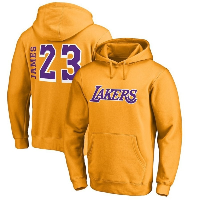 Replica Felpe Con Cappuccio Los Angeles Lakers NO.23 LeBron James Jaune