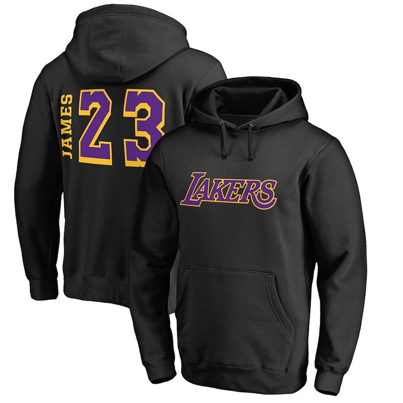 Replica Felpe Con Cappuccio Los Angeles Lakers NO.23 LeBron James Nero Jaune