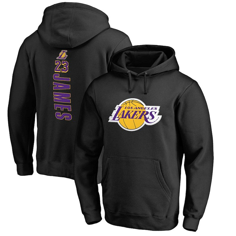 Replica Felpe Con Cappuccio Los Angeles Lakers NO.23 LeBron James Nero Pourpre