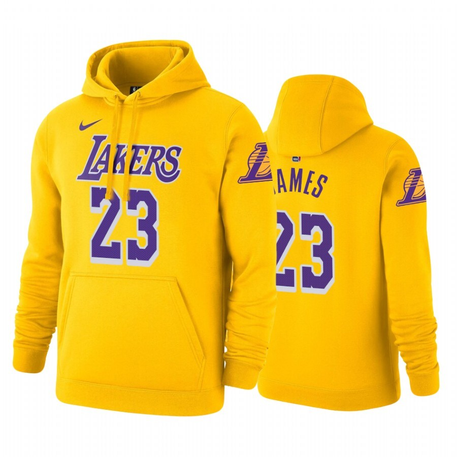 Replica Felpe Con Cappuccio Los Angeles Lakers NO.23 LeBron James Or