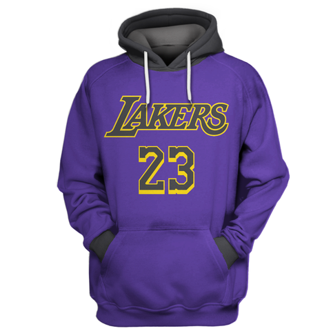 Replica Felpe Con Cappuccio Los Angeles Lakers NO.23 LeBron James Pourpre Grigio