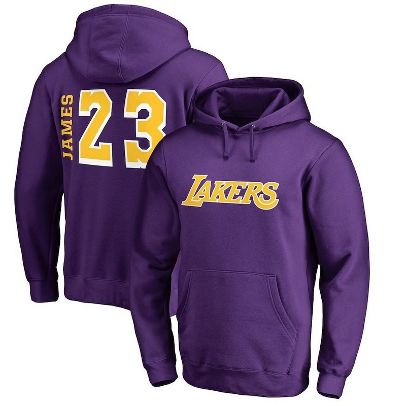 Replica Felpe Con Cappuccio Los Angeles Lakers NO.23 LeBron James Pourpre Jaune Pourpre