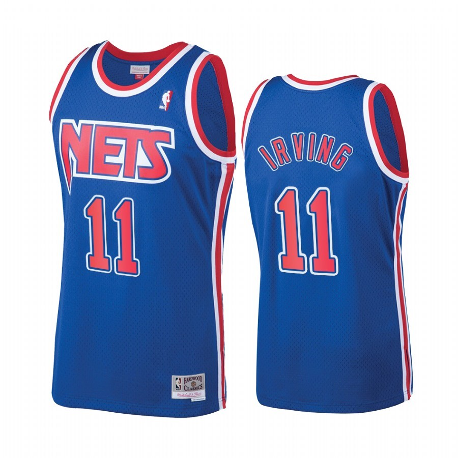 Replica Maglia NBA New Jersey Nets NO.11 Kyrie Irving Blu Hardwood Classics 1992-93