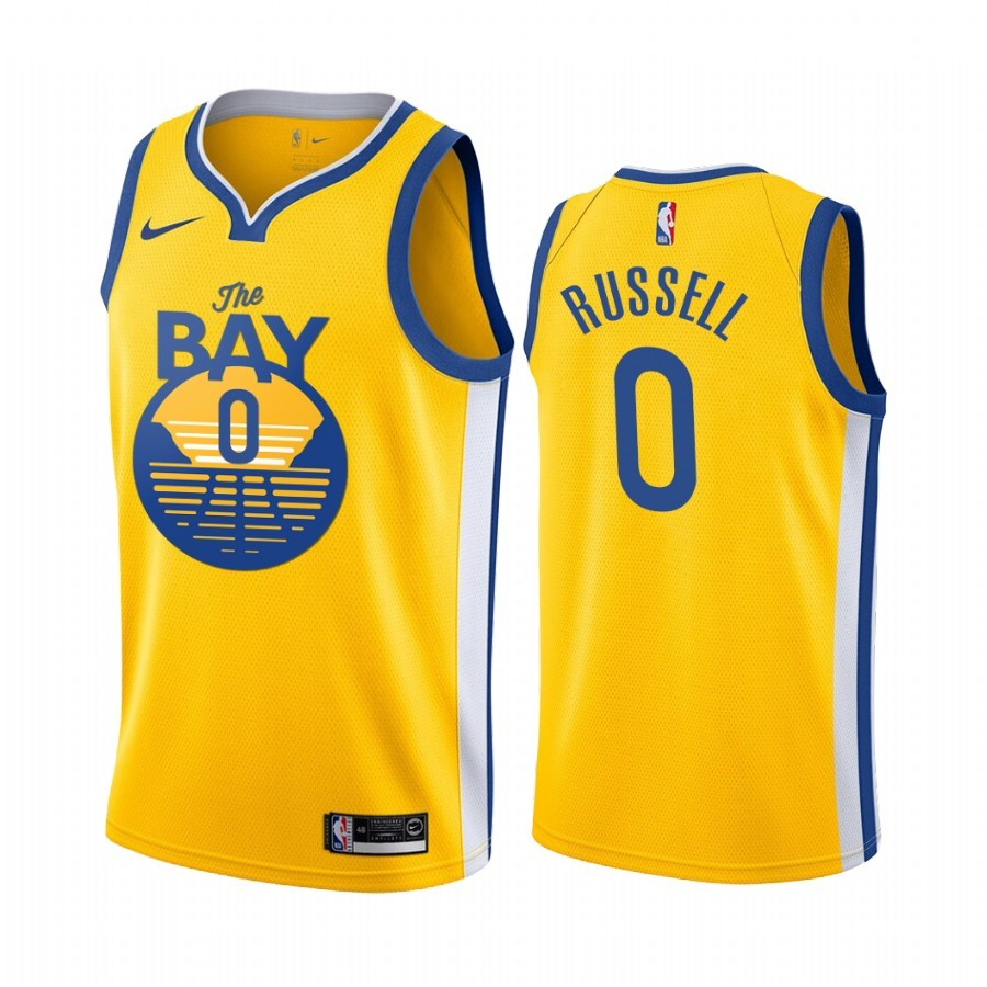 Replica Maglia NBA Nike Golden State Warriors NO.0 D'Angelo Russell Jaune Città 2019-20