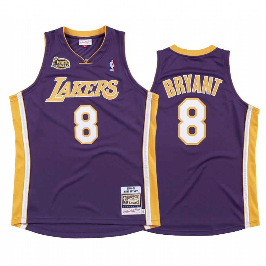 Replica Maglia NBA Nike Los Angeles Lakers NO.8 Kobe Bryant Pourpre 2000 01