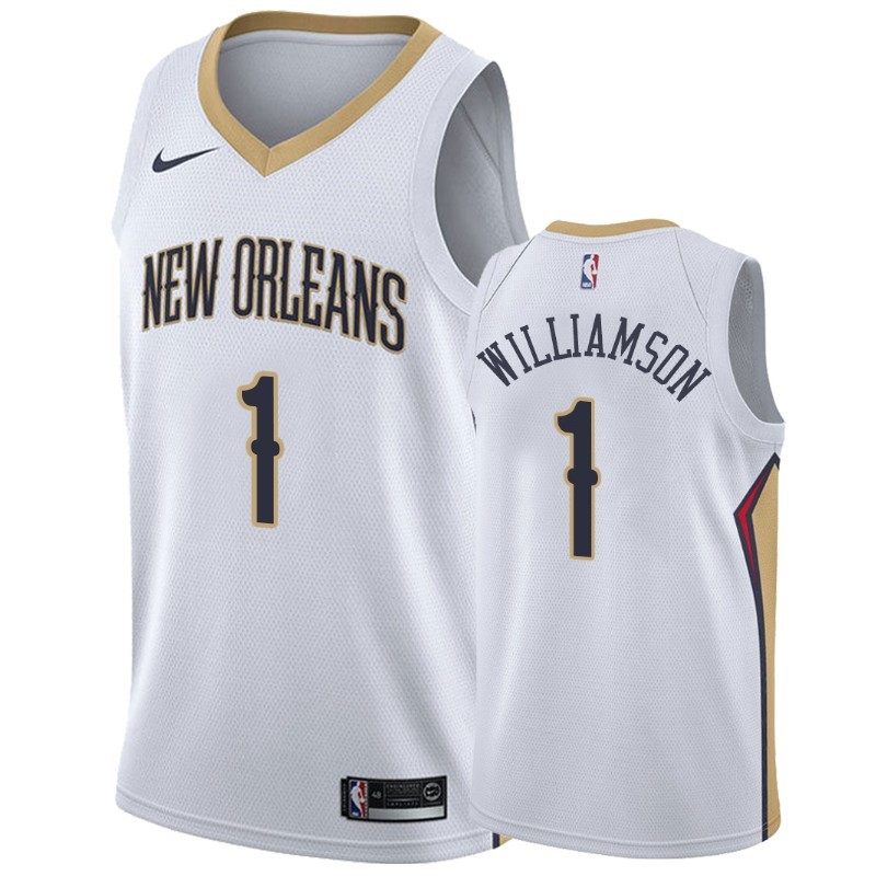 Replica Maglia NBA Nike New Orleans Pelicans NO.1 Zion Williamson Bianco Association
