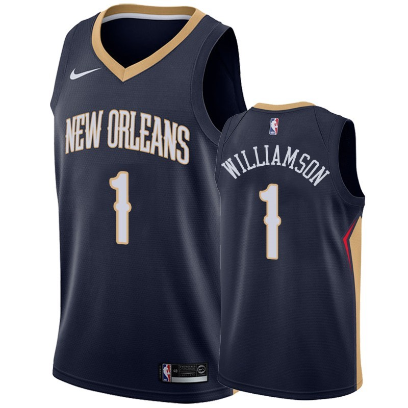 Replica Maglia NBA Nike New Orleans Pelicans NO.1 Zion Williamson Marino Icon