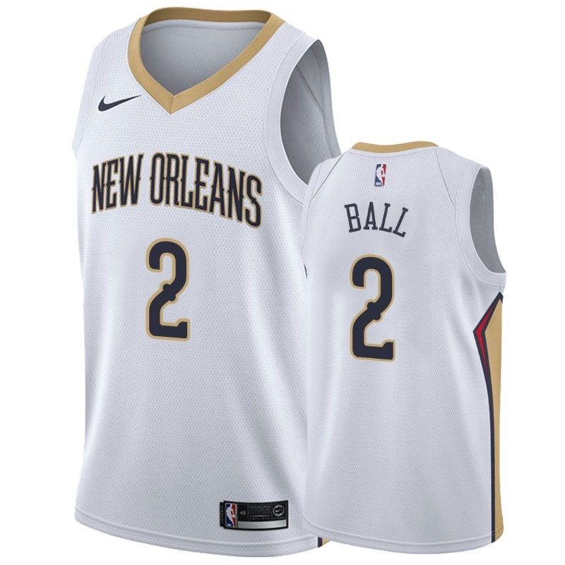 Replica Maglia NBA Nike New Orleans Pelicans NO.2 Lonzo Ball Bianco Association 2019-20