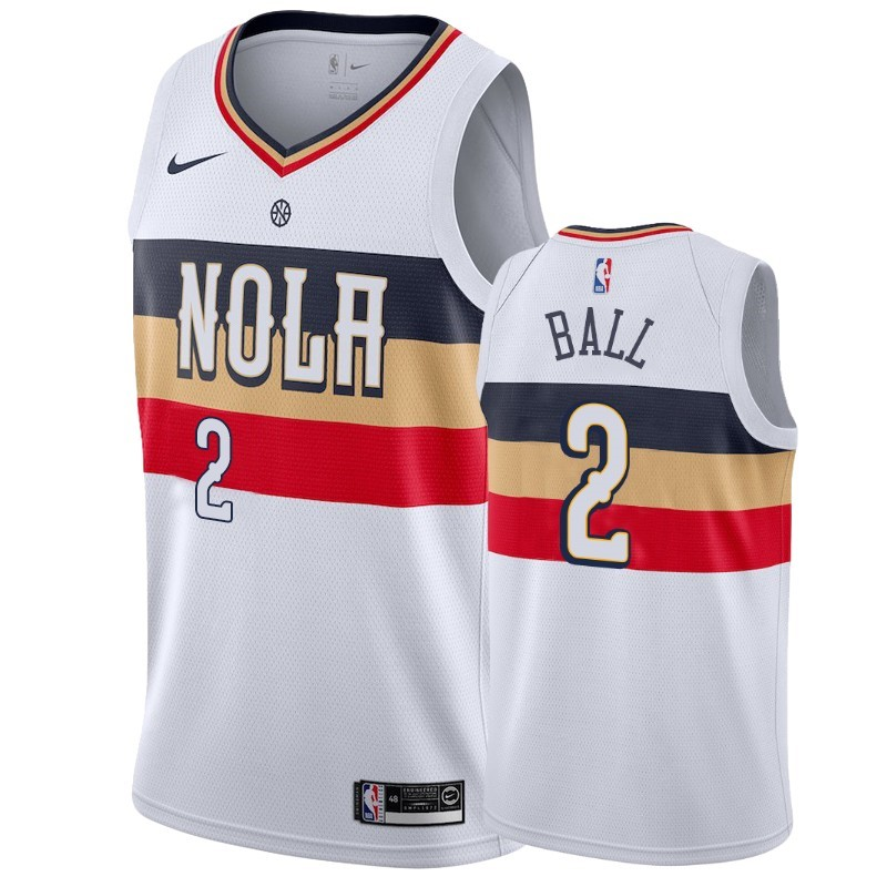 Replica Maglia NBA Nike New Orleans Pelicans NO.2 Lonzo Ball Bianco Earned 2019-20