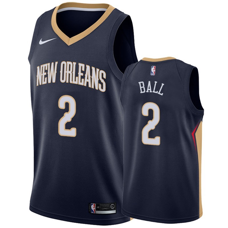 Replica Maglia NBA Nike New Orleans Pelicans NO.2 Lonzo Ball Marino Icon 2019-20