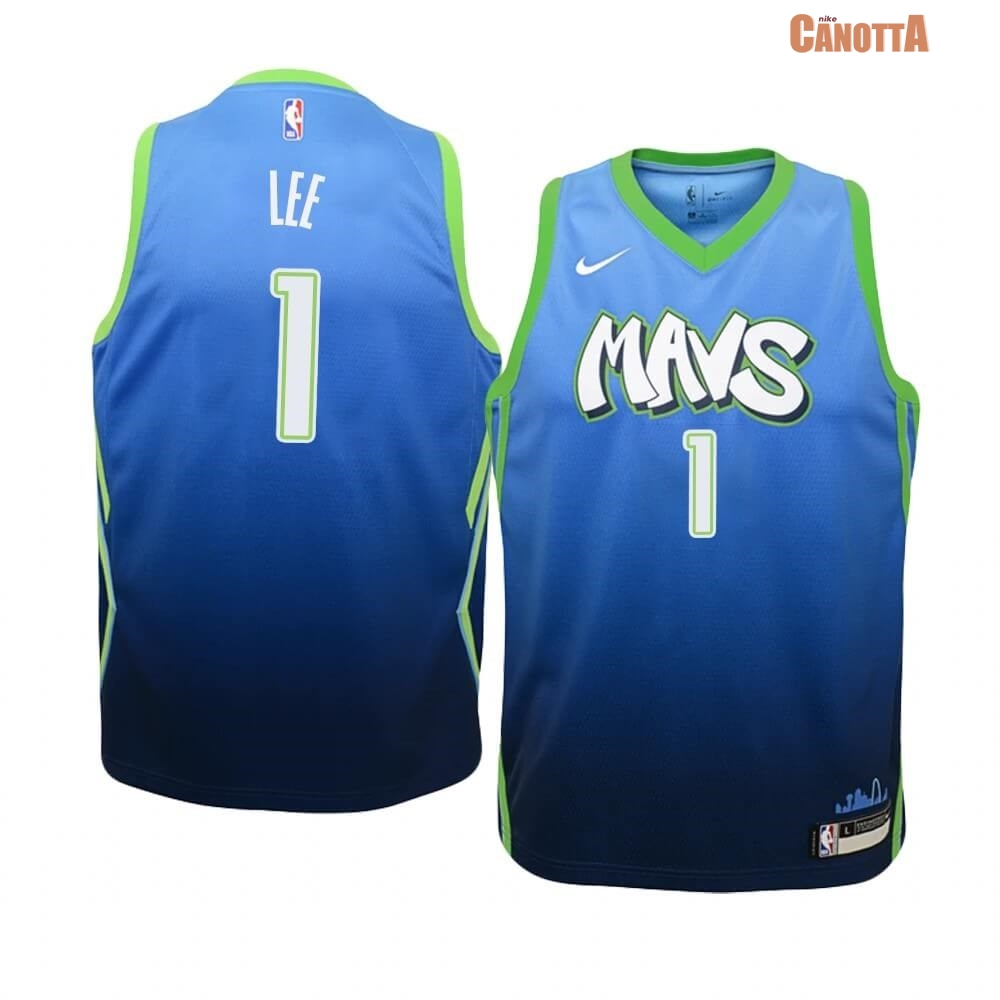 Replica Maglia NBA Bambino Dallas Mavericks NO.1 Courtney Lee Nike Blu Città 2019-20