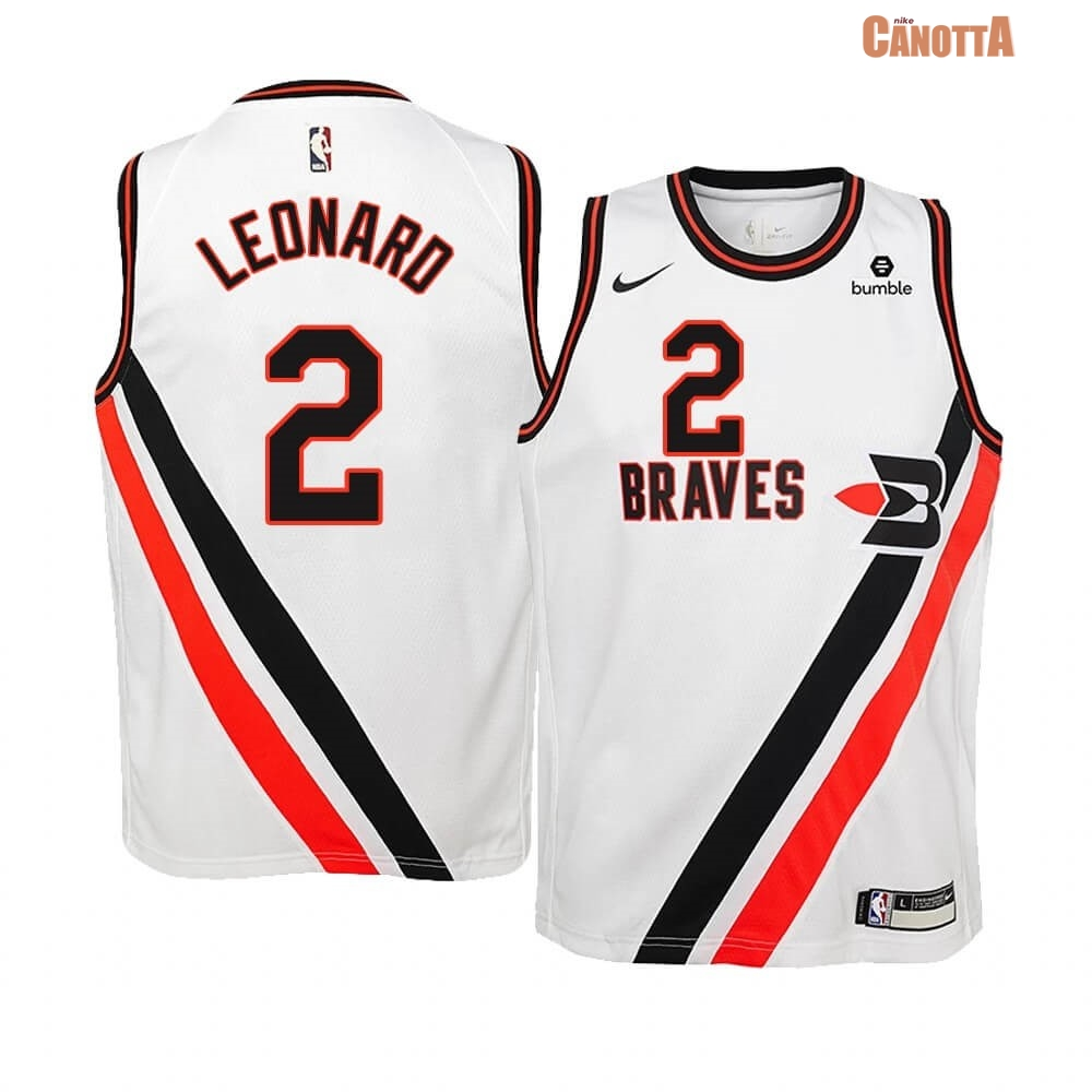 Replica Maglia NBA Bambino Earned Edition Los Angeles Clippers NO.2 Kawhi Leonard Bianco