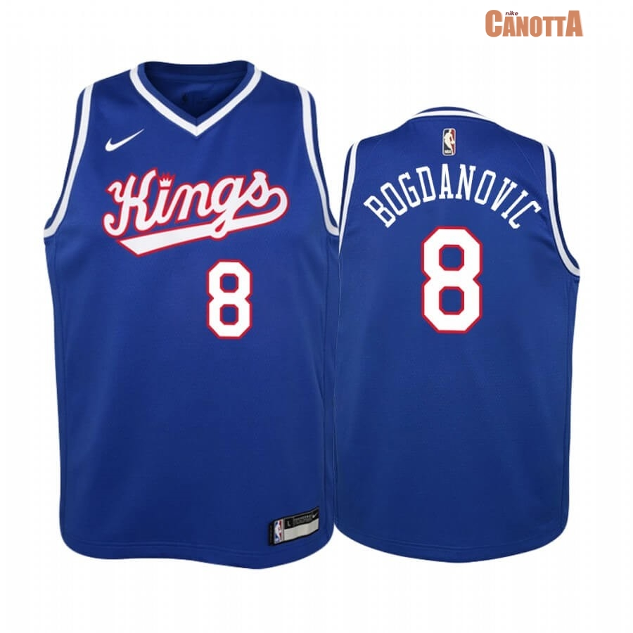 Replica Maglia NBA Bambino Sacramento Kings NO.8 Bogdan Bogdanovic Blu Throwback