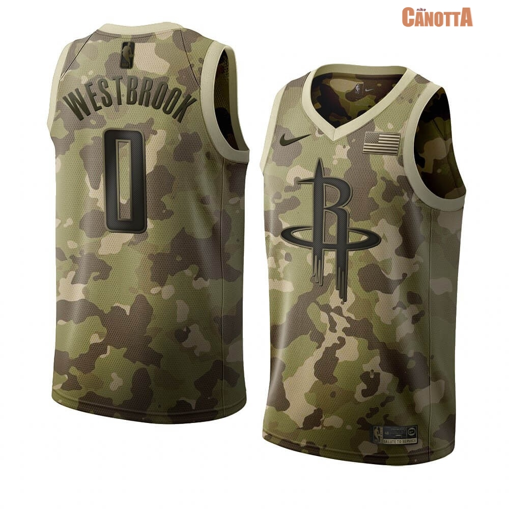 Replica Maglia NBA Nike Houston Rockets NO.0 Russell Westbrook Camouflage 2019