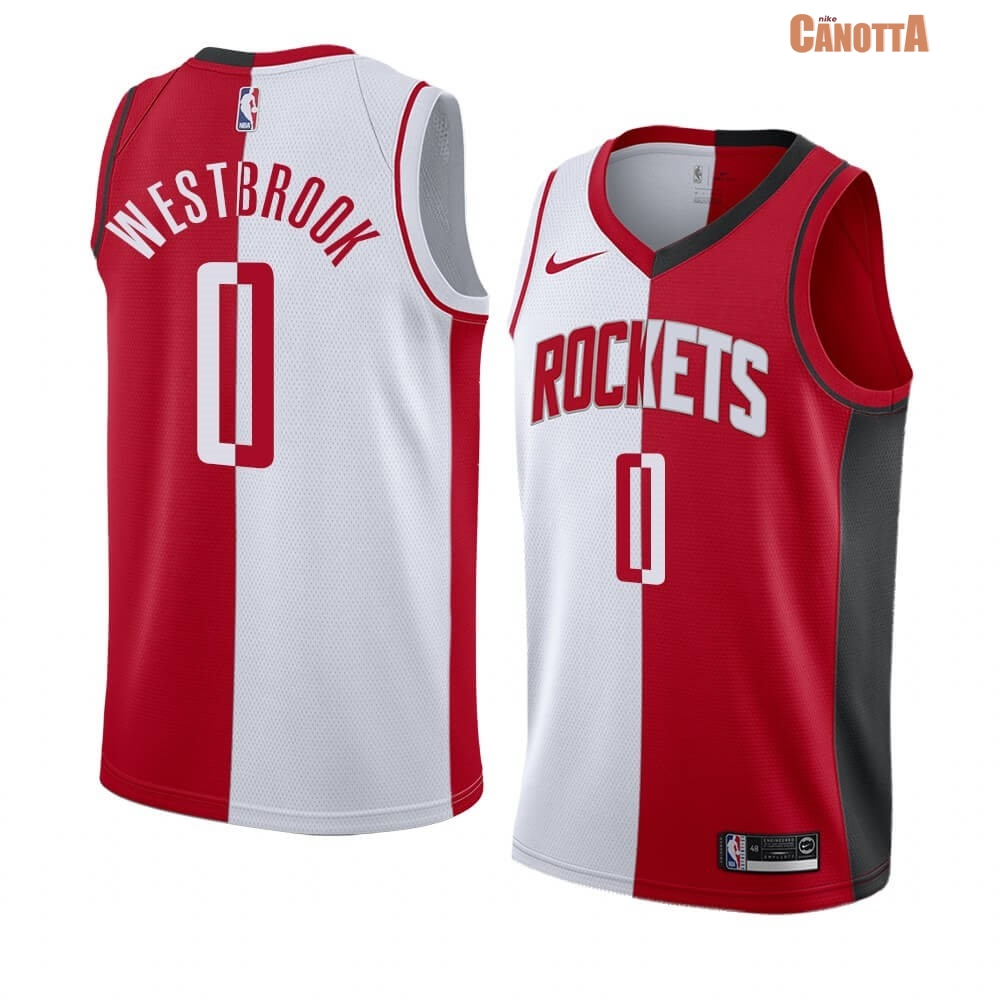 Replica Maglia NBA Nike Houston Rockets NO.0 Russell Westbrook Rosso Bianco Split Edition