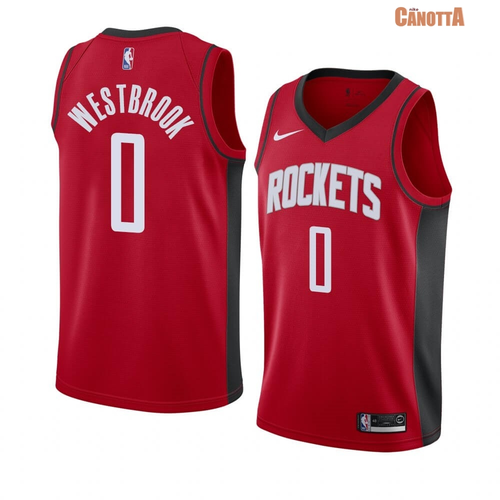 Replica Maglia NBA Nike Houston Rockets NO.0 Russell Westbrook Rosso Icon 2019-20