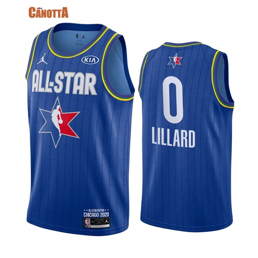 Replica Maglia NBA 2020 All Star NO.0 Damian Lillard Blu