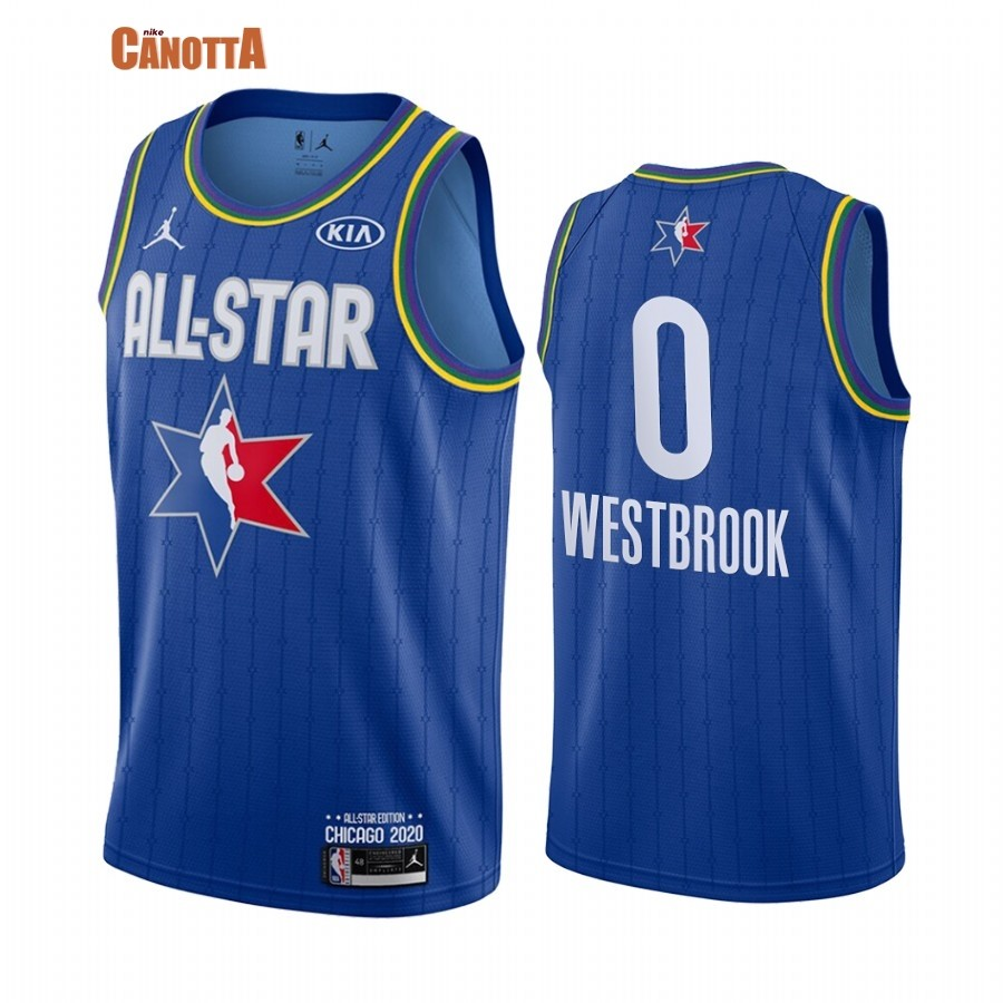 Replica Maglia NBA 2020 All Star NO.0 Russell Westbrook Blu