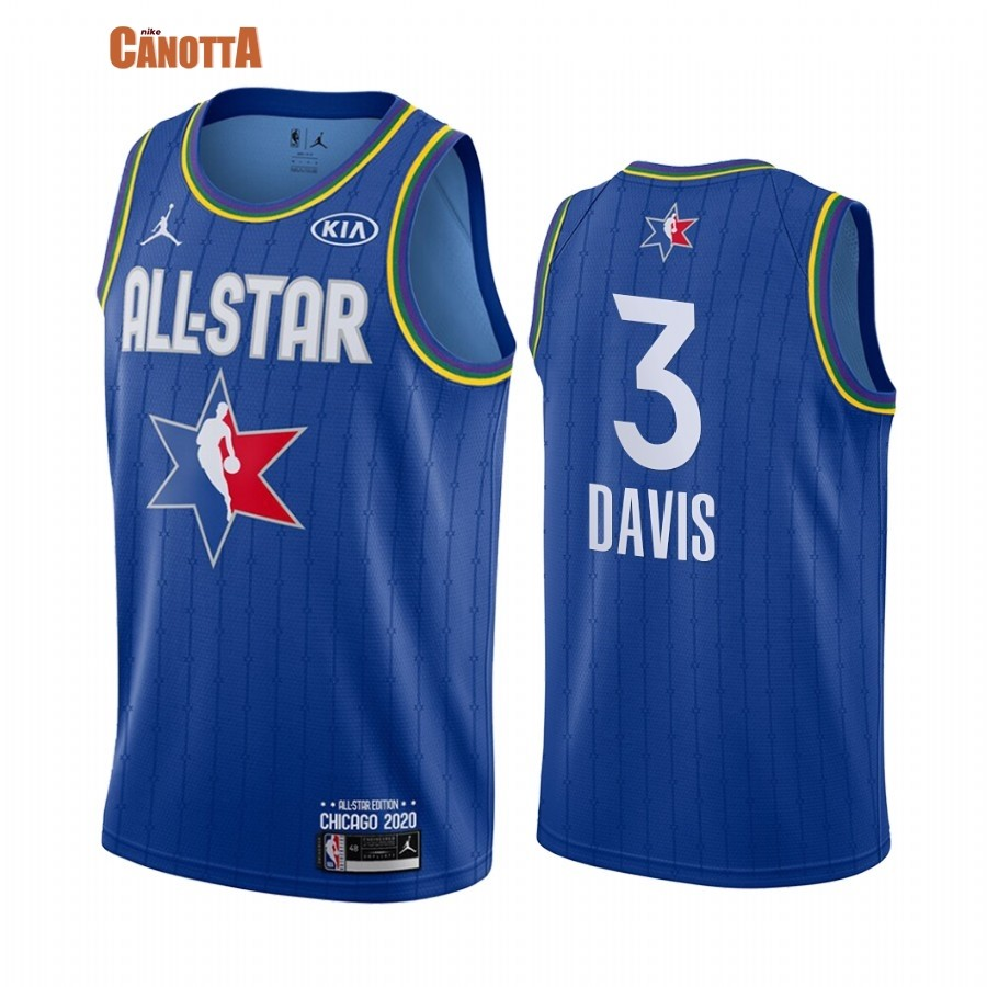 Replica Maglia NBA 2020 All Star NO.3 Anthony Davis Blu