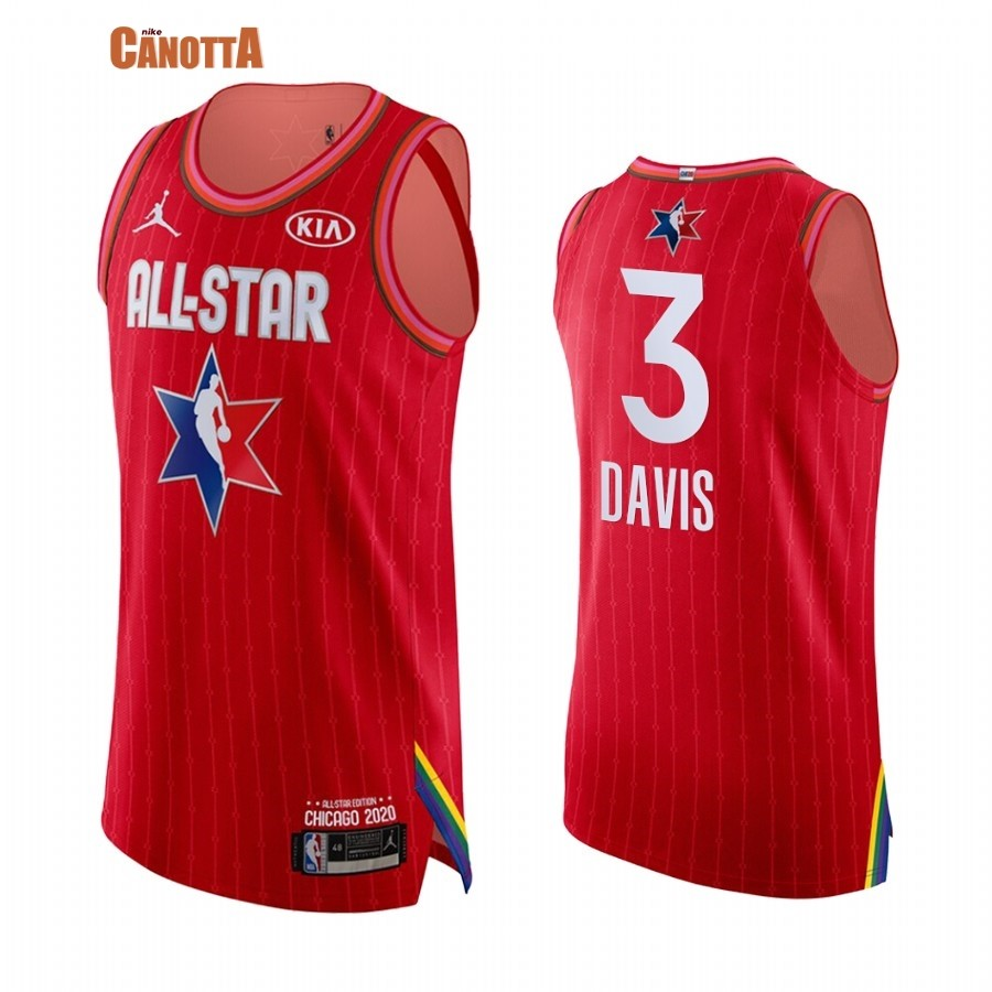 Replica Maglia NBA 2020 All Star NO.3 Anthony Davis Rosso