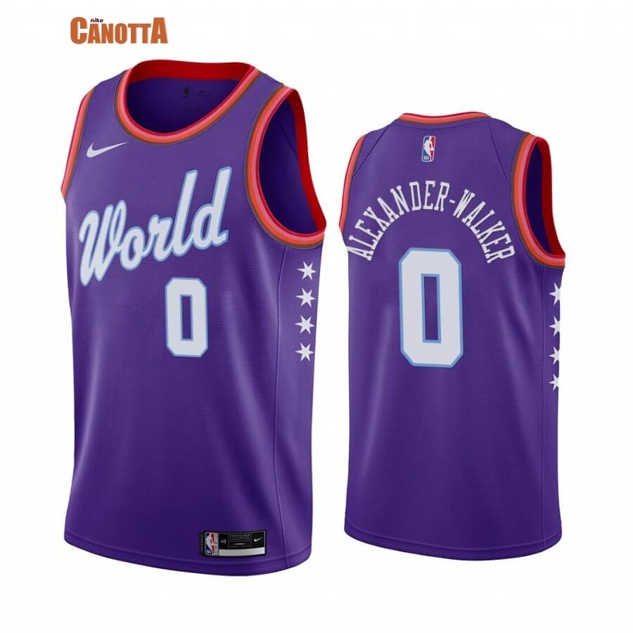 Replica Maglia NBA 2020 Rising Star NO.0 Nickeil Alexander Walker Porpora