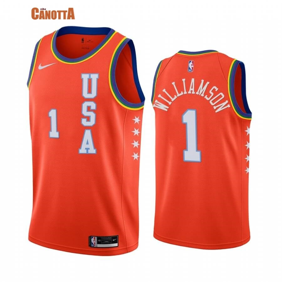 Replica Maglia NBA 2020 Rising Star NO.1 Zion Williamson Arancia