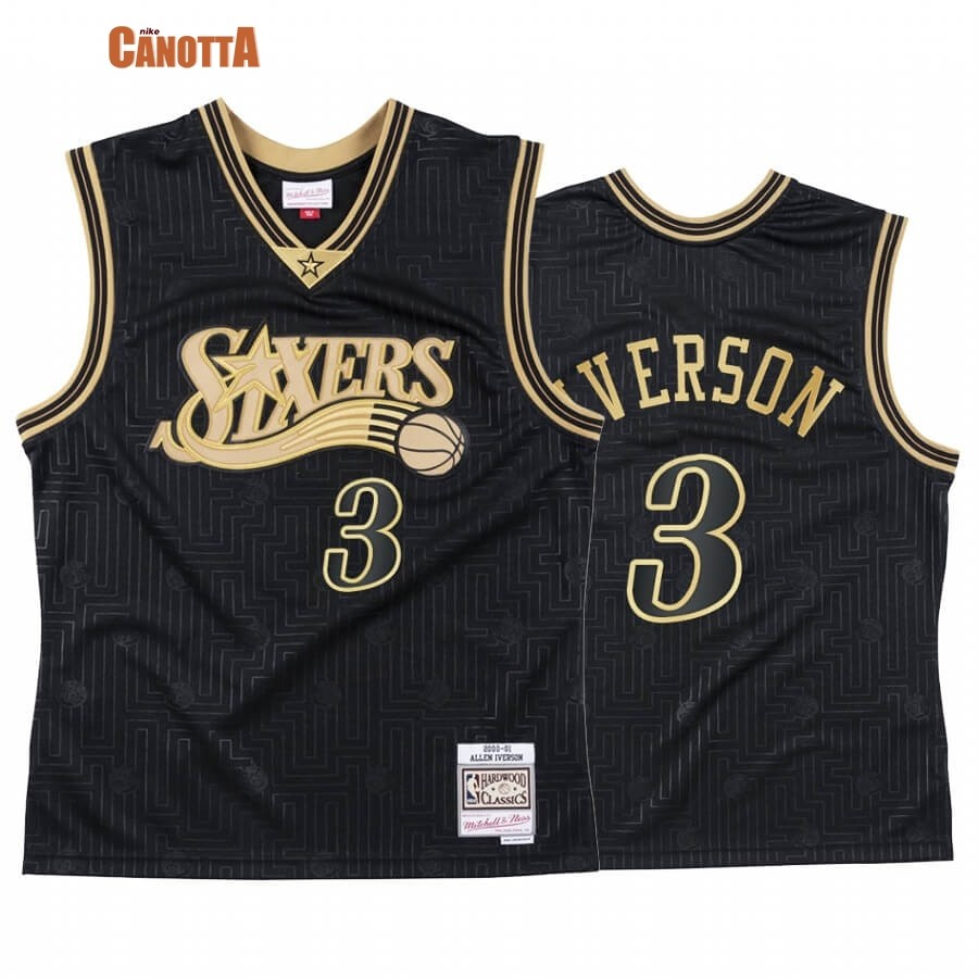 Replica Maglia NBA CNY Throwback Philadelphia 76ers NO.3 Allen Iverson Nero 2020