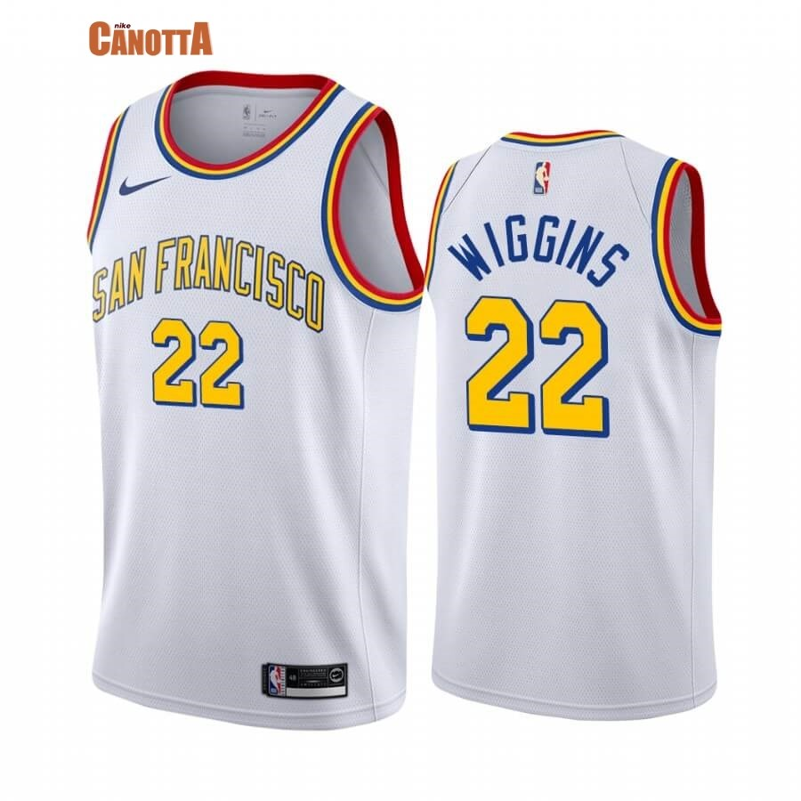 Replica Maglia NBA Golden State Warriors NO.22 Andrew Wiggins Bianco Classics Edition 19 20