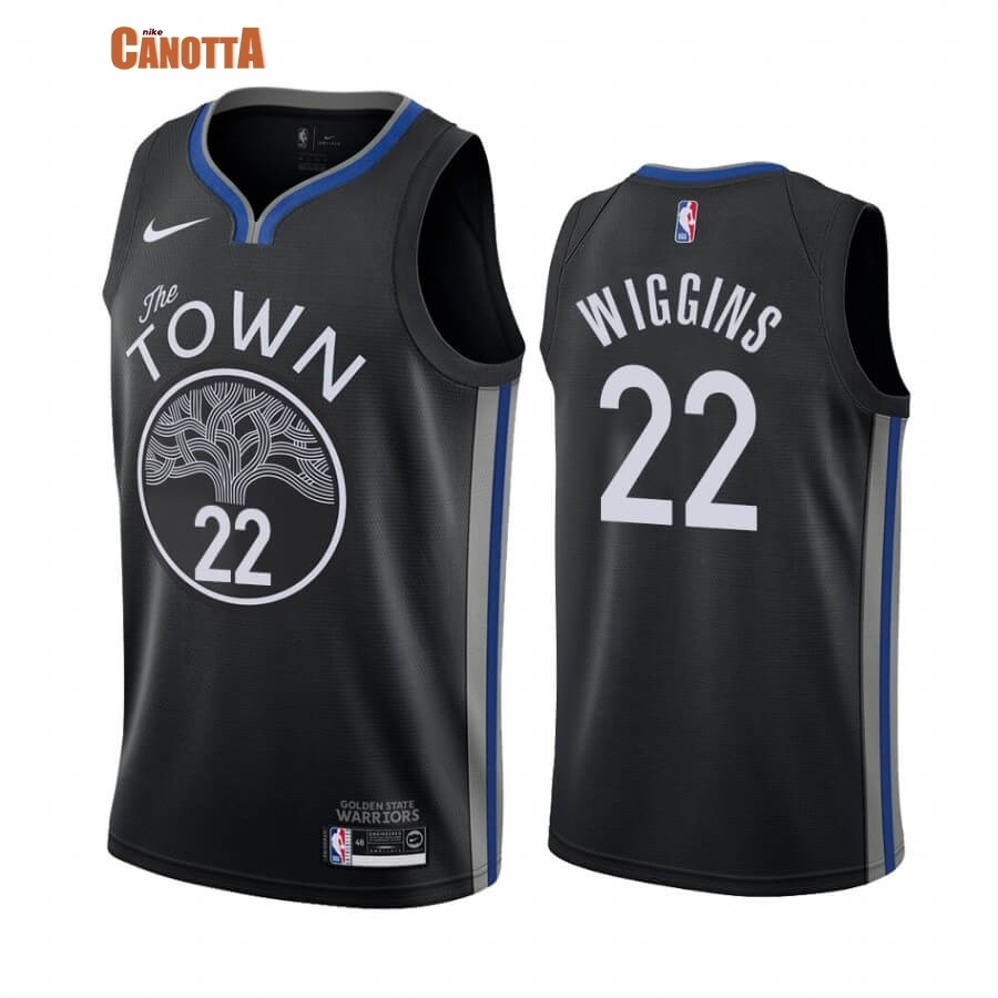 Replica Maglia NBA Nike Golden State Warriors NO.22 Andrew Wiggins Nike Nero Città 2019-20