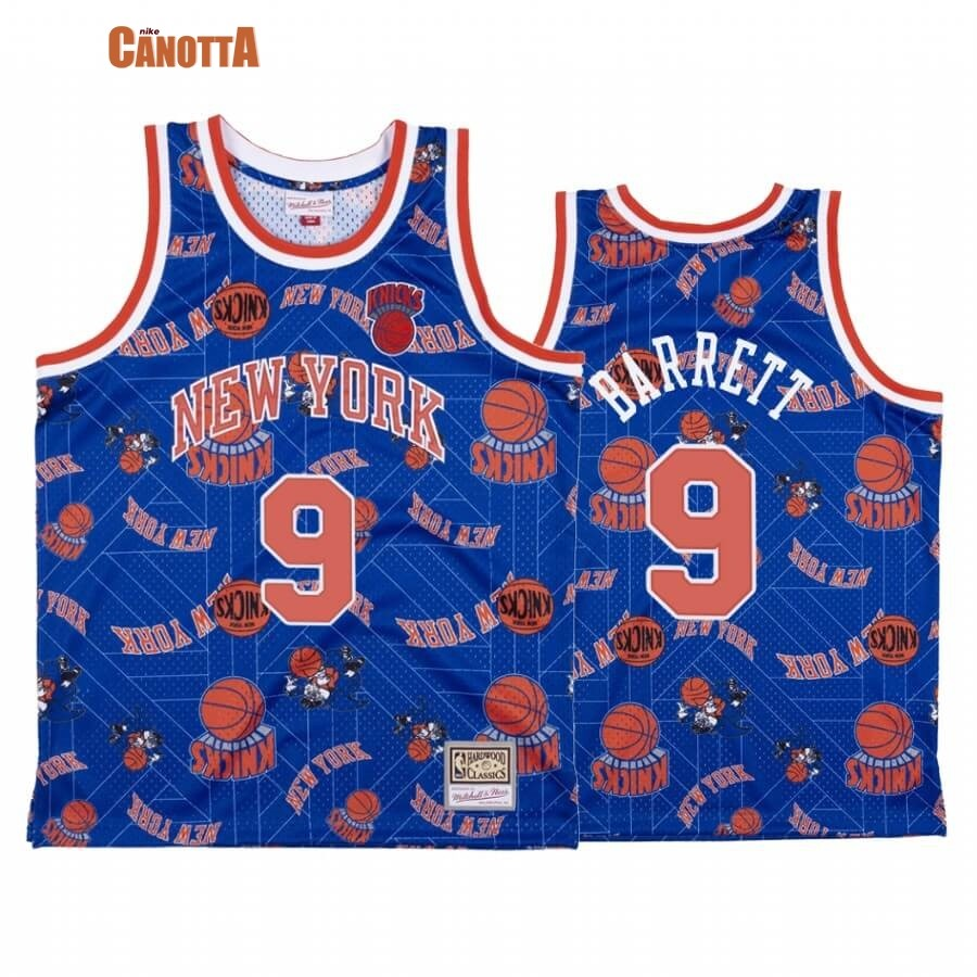Replica Maglia NBA New York Knicks Tear Up Pack NO.9 R.J. Barrett Blu Hardwood Classics