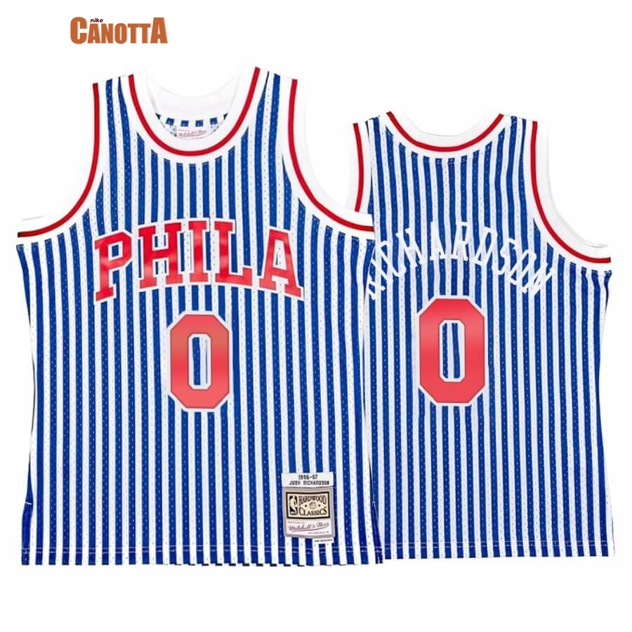 Replica Maglia NBA Philadelphia Sixers Striped NO.0 Josh Richardson Blu Hardwood Classics