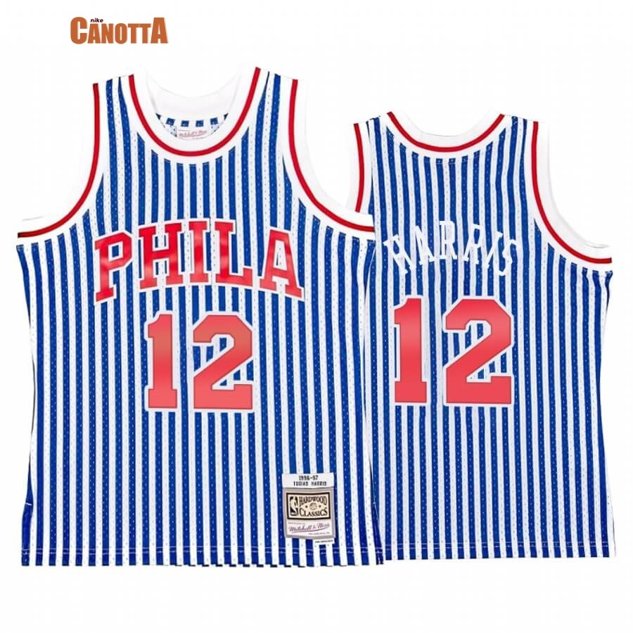Replica Maglia NBA Philadelphia Sixers Striped NO.12 Tobias Harris Blu Hardwood Classics