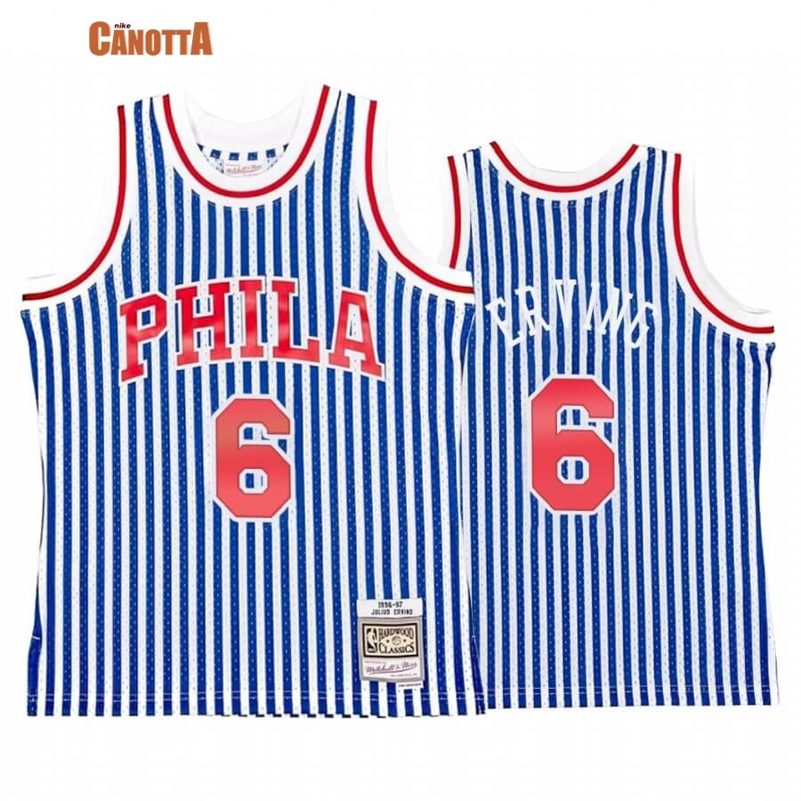 Replica Maglia NBA Philadelphia Sixers Striped NO.6 Julius Erving Blu Hardwood Classics