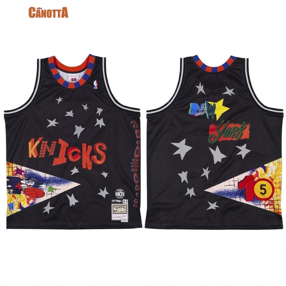 Replica Maglia NBA New York Knicks A$AP Ferg X BR Remix Nero Hardwood Classics