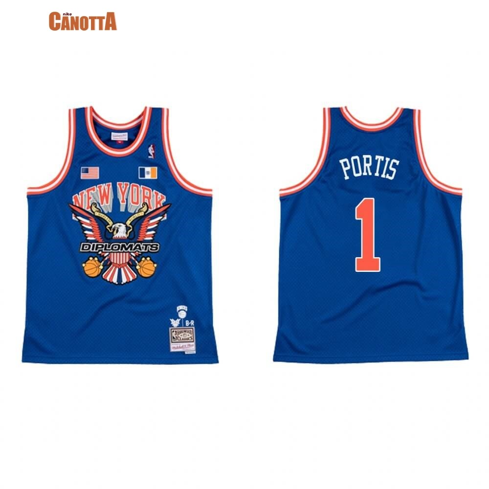 Replica Maglia NBA New York Knicks NO.1 Bobby Portis BR Remix Blu Hardwood Classics