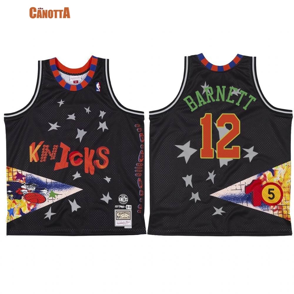 Replica Maglia NBA New York Knicks NO.12 Dick Barnett X BR Remix Nero Hardwood Classics